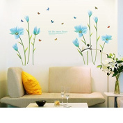 Romantic Blue Lily Wall Stickers Flowers Wall Decals Life Like Summer Flower Living Room Bedroom Removable PVC Wall Stickers Murals Living Room Bedroom Nursery Decoration