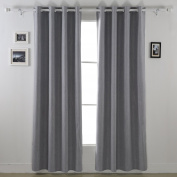Deconovo Solid Colour Insulated Blackout Ccurtains Grommet Curtains with Foam Back Curtains for Kids Room Light Grey 130cm By 240cm 2 Panels