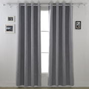 Deconovo Solid Colour Insulated Blackout Ccurtains Grommet Curtains with Foam Back Curtains for Kids Room Light Grey 130cm By 210cm 2 Panels