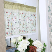 Rosa Multiflora Ruffles Lace Printed Window Curtain Valance Tier Pair Curtain Sheer Green Checked 140cm x 60cm