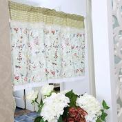 Rosa Multiflora Ruffles Lace Printed Window Curtain Valance Tier Pair Curtain Sheer Green Checked 140cm x 60cm