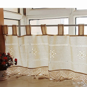 Retro Jacquard Floral Cotton Linen Embroidered Ruffled Lace Fringed Top Valance 150cm x 46cm