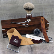 Complete Rosewood Barber Style Shaving Set featuring Silver Tip Brush & Wooden Handle Straight/Cut Throat Razor with Strop, Paste and Trimming Scissors