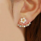 Crystal Stud Earrings Boucle d'oreille Femme 2016 Fashion Flower Earrings for Women Gold Bijoux Jewellery Brincos Pendientes Mujer, Gold and White