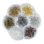 Ear Wires, Heirtronic 140 Pieces Stainless Steel Fish Earring Hooks with Transparent Storage Box, 7 Colours