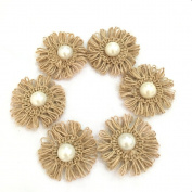 OZXCHIXU (TM) (10PC) Burlap Flowers Embellishments for Weddings, Hair Accessories, Scrapbooking or Crafts