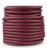 Round Leather Cord, 10 Metre Spool, 4.0 millimetre Cherry Red