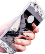 iPhone 6 Plus Case, Black Lemon Luxury Diamond Glitter Soft Rubber Bling Shiny Sparkling Hybrid with Makeup Mirror Back Phone Case for Apple iPhone 6s Plus 14cm