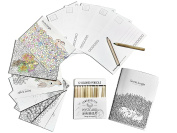 Max Extra Colouring Greeting Cards, Set of 12 Elegant Cards to Colour and Share for All Occasion, 11cm x 15cm , Plus Pack of 12 Colour Pencils and One Colouring Blank Notebook