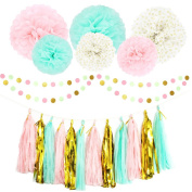 Party Decoration Kit 20 Pcs Mint Peach Glitter Gold Tissue Paper Pom Poms Flower Tissue Paper Hanging Tassels Polka Dot Paper Garlands for Baby Shower Wedding Nursery Bridal Shower