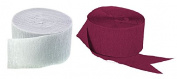 Maroon and White Crepe Paper Streamers (2 Rolls Each Colour) MADE IN USA!