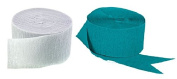 Teal and White Crepe Paper Streamers (2 Rolls Each Colour) MADE IN USA!