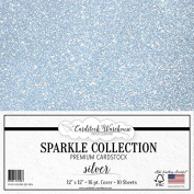 SPARKLE SILVER GLITTER Cardstock Paper from Cardstock Warehouse 30cm x 30cm - 16 PT. COVER - 10 Sheets