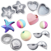 MelonBoat Metal Bath Bomb Moulds Fizzies Set of 5, 2 Shell Shape, 4 Hemispheres (5.1cm - 1cm , 5.1cm ), 2 Heart Shape, 2 Starfish Shape, Cake Pan Moulds, Aluminium
