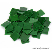 Milltown Merchants™ Green 2.2cm Stained Glass Squares 1.4lb - Opaque Stained Glass Cobbles - Broken Glass Chips for Stepping Stones and Crafts - Bright Colour Glass Coblets -1.4kg Value Pack