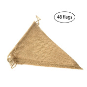 Purture 48 Pcs Burlap Banner, 11m Triangle Flag ,DIY Decoration for Holidays, Wedding, Camping, Party and Any Occasion Shipping by FBA