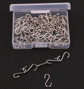 Shapenty 14mm Mini Metal Wire S Hooks Connectors for Craft Jewellery Key Ring Chain and Pet Name Tag, 100PCS