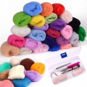 Zealor 36 Colours Fibre Wool Yarn Roving Set with Needle Felting Kit Wool Felt Tools