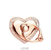 Universal Phone Ring Bracket holder ,UCLL Love Heart Diamond Shape Finger Grip Stand Holder Ring Car Mount Phone Ring Grip Smartphone Ring stent Tablet Rose Gold