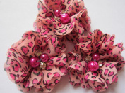 YYCRAFT Pack Of 20 Pieces Leopard Chiffon 5.1cm Flower Rhinestone for craft projects-Hot Pink