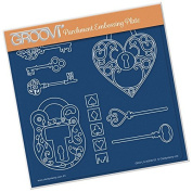 Groovi Embossing A5 Square ~ Key To My Heart, GRO40536