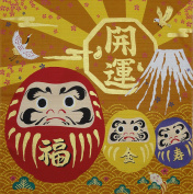Furoshiki Wrapping Cloth Daruma Dolls on Gold Motif Japanese Fabric 50cm