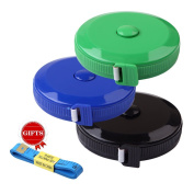 BUSHIBU Black Green Blue 3 pcs150 cm 60 Inch Push Button Soft Retractable Tape Measure Handy Pocket Tape Measure Double-Sided Tailor's Measuring Tape