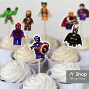 24pcs LEGO The Avengers Superman Batman Iron Man Cupcake Toppers Cake Picks Kids Birthday Party Decorations Candy Bar