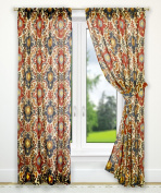 Ellis Curtain Tuscany Tailored Panel Pair with Tiebacks, 180cm x 160cm , Red
