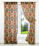 Ellis Curtain Tuscany Tailored Panel Pair with Tiebacks, 180cm x 160cm , Red