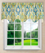 Ellis Curtain Tuscany Lined Scallop Valance, 180cm x 43cm , Blue