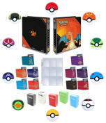 Pokemon 3-Ring Charizard Binder with 25 9-Pocket Pages + 65 Sleeves + Deck Box + Pokeball