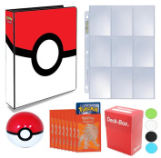 Pokemon 3-Ring Pokeball Binder with 25 9-Pocket Pages + 65 Sleeves + Deck Box + Poke Ball