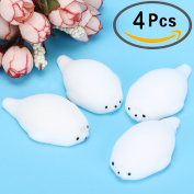 4 Pcs Mini Kawaii Seal Squishy Soft Squishies Mini Seal Stretchy Squishy Seal Toy Mochi Squeeze Toy by Outee