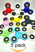 Fidget Hand Spinners 5 Colour Bundle Bulk EDC Hand Tri-Spinner Desk Toy Stress Anxiety Relief ADHD Adults Student, Relax Therapy, Stress Pack Combo Green Red Black White Blue Yellow Glow Pink Glow
