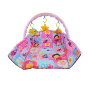 Bid Buy Direct® Pink Deluxe Play Basket Mat - Sit & Play, Tummy Time and Take-Along | Brightly Coloured Comfortable Play Mat with Linkable Toys & Teethers to develop Motor Skills, Encourage Kicking, Reaching, Tummy Time, Crawling | Helps Strengthen Bab ..