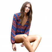 Bluester Summer Womens Vintage Boho Long Sleeve Sexy Blouse Loose Tops T-Shirt