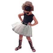 For 1-6 Years old ,Clode® Cute Baby Girls Sleeveless Vest T-shirt and Leopard Short Skirt 2pcs Outfit