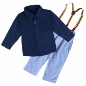 iEFiEL 3PCS Infant Boys Gentleman Outfits Long Sleeves T-shirt + Suspender Strap + Long Pants Clothing Set
