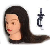 Training Head Hairdressing 100% Real Human Hair Styling Mannequin Manikin Doll (Table Clamp Holder Included) EHJ0414P