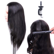Training Head Hairdressing 100% Real Human Hair Styling Mannequin Manikin Dolls Head With Table Clamp Holder EHA0218P
