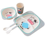 Berry President(TM) Eco-Friendly BAMBOO Dinnerware Set | Meal Set | Plate Set | Dinner Set | Dishes | Food-Safe Feeding Set for Toddlers Kids Boys Girls,5 Piece