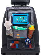 Car Seat Organiser Kick Mat Grey Multi Pocket Touch Screen iPad Tablet Holder By Kidease Travel Gear