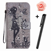 Galaxy J3 2017 Bling Case,Samsung Galaxy J3 2017 Leather Case,TOYYM Ultra Thin PU Leder Flip Diamond Wallet Case Cover with Grey Girl and Cat Pressed Pattern Design for Samsung Galaxy J3 2017,Folio Bookstyle Protective Case with [Stand Function] [Card ..