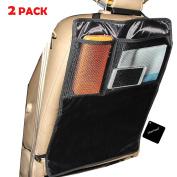 [2 Pack] Car Seat Covers Kick Mats, xhorizon TM SR Car Seat Protector and Back Cover, 2 Large Organiser Pockets, Seat Kick Protectors, Backseat Organiser