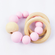 Mamimami Home Baby Wooden Teether Silicone Teether Beech Hexagon Teething Bracelet Baby Accessories Food Grade Baby Teether Toys