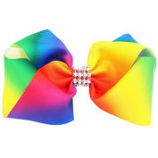 20CM Sparkly Glitter Rhinestones Rainbow Big Huge Large Hair Bows Alligator Hair Clips for Girls Toddlers Women