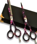 PinkBlack Giftset Hairdressing scissors & Hair thinning barber Shears Jap Steel 5.5