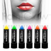 PaintGlow UV Reactive Neon Lipstick (6 Pack) Festival Fancy dress glow makeup