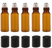 Homgaty 5x Empty Refillable Oils Roller Bottles 5ML Separation Glass Bottles